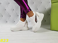 Кроссовки сникерсы деми на платформе с танкеткой белые с серебром, фото 1