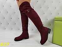 Сапоги ботфорты цвета марсала бордо зима на низком ходу, фото 1