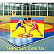 Покрытие (покрышка) ПВХ для борцовских и гимнастических матов в спортзалах трехцветная., фото 4