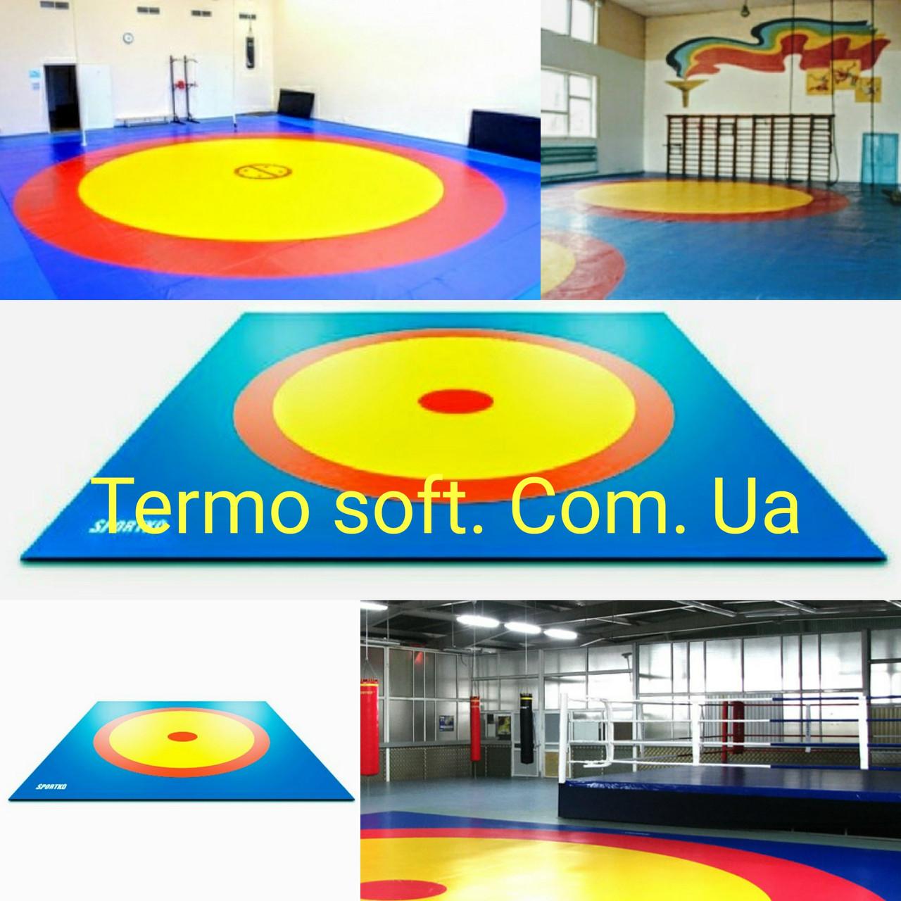 Покрытие (покрышка) ПВХ для борцовских и гимнастических матов в спортзалах трехцветная.