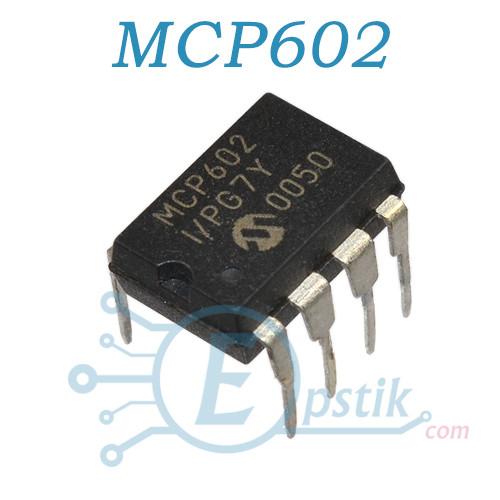 MCP602-I/P, двухканальный операционный усилитель, DIP8