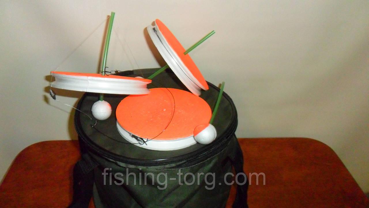 Набор жерлица 10 штук летняя оснащеннная в сборе диаметр 150мм в сумке