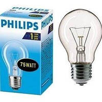 Лампа Philips А55 75W Е-27 прозора
