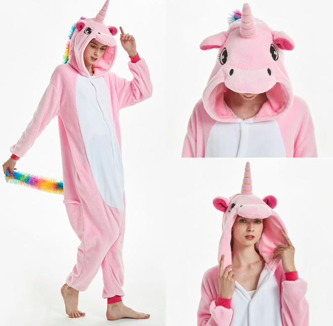 Пижама единорог взрослая кигуруми розовый M