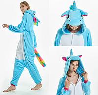 Пижама единорог взрослая кигуруми голубой M