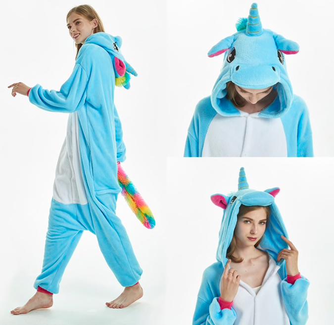 Кигуруми пижама взрослая единорог голубой S