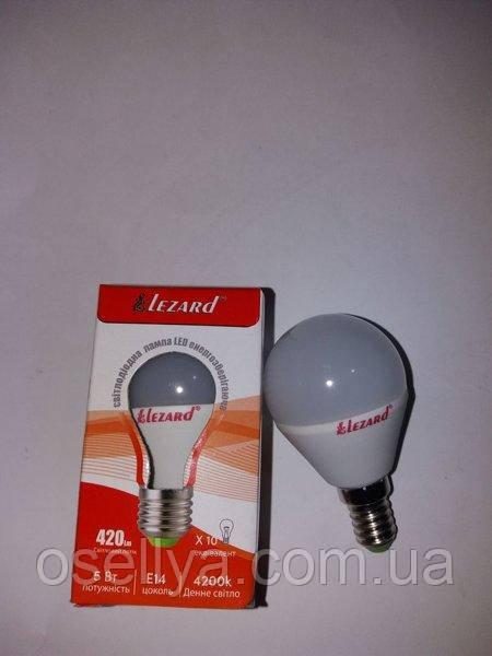 Лампа LED Lezard A45 5W E14 4200K 220V Шар