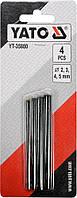 Пробойники отверстий 2-3-4-5 мм для кожи картона резины текстиля L = 90 мм набор  4 шт YATO YT-35880