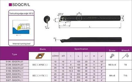 S12M-SDQCR07 Резец (державка) токарный расточной , фото 2