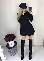 Красивое стильное короткое замшевое платье чёрное 42-44 46-48 50-52 54-56, фото 1