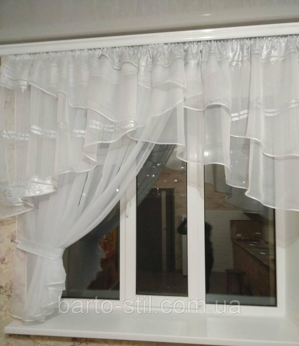 """Занавеска на кухню """"Милана"""" с одной шифоновой шторкой на карниз 2-2.5 м, фото 1"""