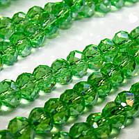 Бусины хрустальные (Рондель) 8х6мм  пачка - примерно 70 шт, цвет - зеленый прозрачный с АБ
