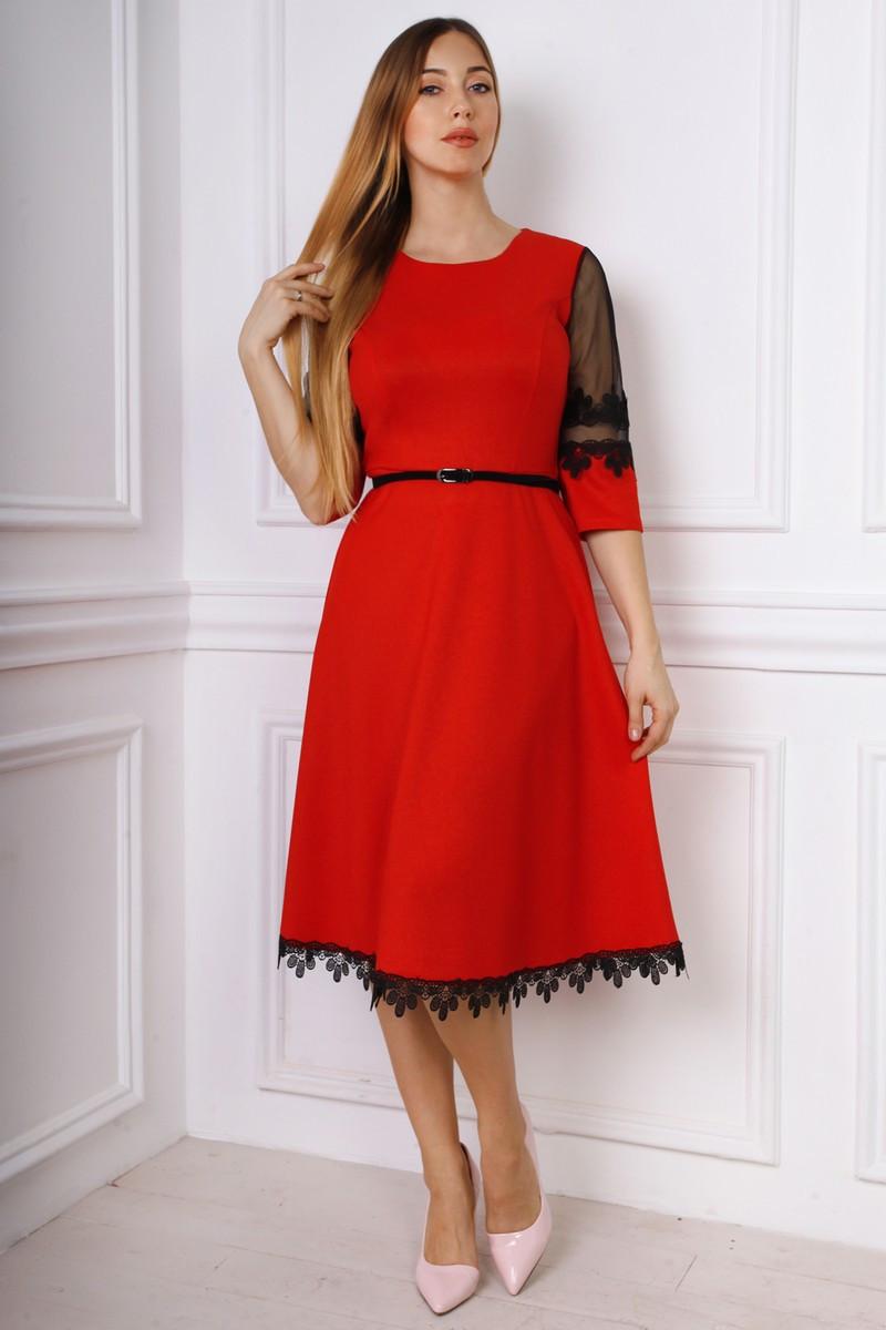 dfcc3315a16 Повседневное платье солнце клеш красное с тонким ремешком размер 48 ...