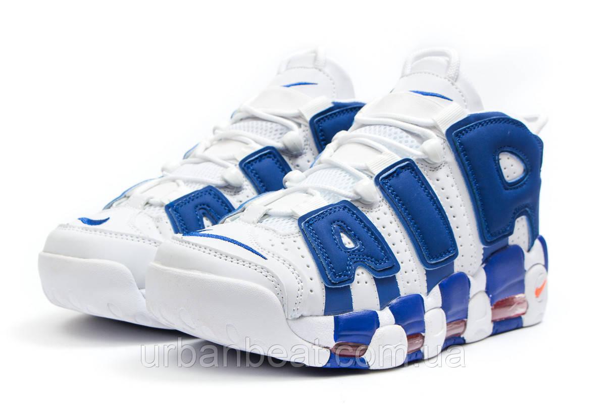 Мужские кроссовки Найк Air More Uptempo White Blue Реплика, фото 1