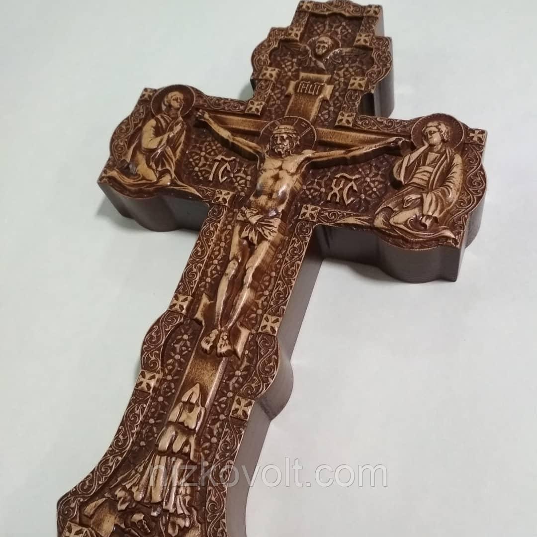 """Деревянный крест """"Распятие"""" 190*300*36 мм - резьба по дереву"""