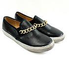 Стильные женские слипоны черного цвета украшенные цепью! Очень легкие и удобные!
