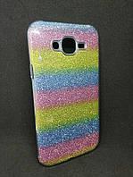 Чехол с блестками для Samsung J7 Galaxy J700 Радуга