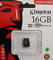 Карта памяти микро SDHC Kingston 16 гб класс 10 UHS- 1 без адаптера