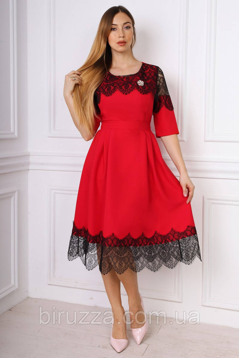 c93b95bdee1 Элегантное красное платье солнце клеш с гипюром размер 48