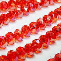 Бусины хрустальные (Рондель) 8х6мм  пачка - примерно 70 шт, цвет - красно-оранжевый прозрачный с АБ