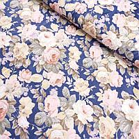 Сатин з квітами чайна троянда на синьому, ширина 160 см, фото 1
