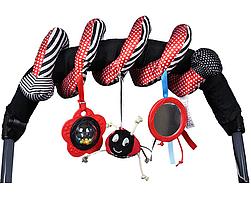 Игрушка спираль на коляску, кроватку, автокресло. Мягкая детская игрушка подвеска.