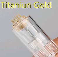 Насадки сменные на дермаштамп титановая позолота. Стерильные картриджи для дермаштампа на 12 игл, золото