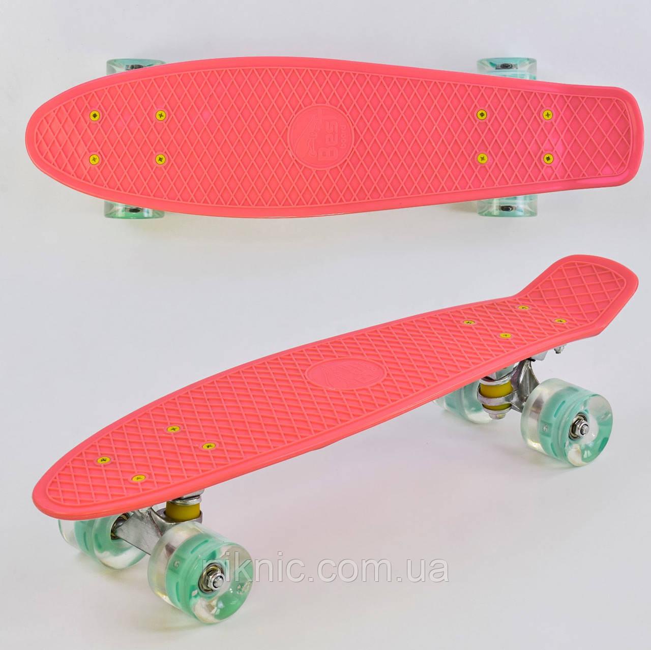 Пенни борд 55 см, СВЕТ колёса PU 6см Розовый 1 Скейтборд, скейт, Penny board, лонгборд для девочки, девушки