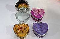 Шкатулка сердце бабочка с зеркалом