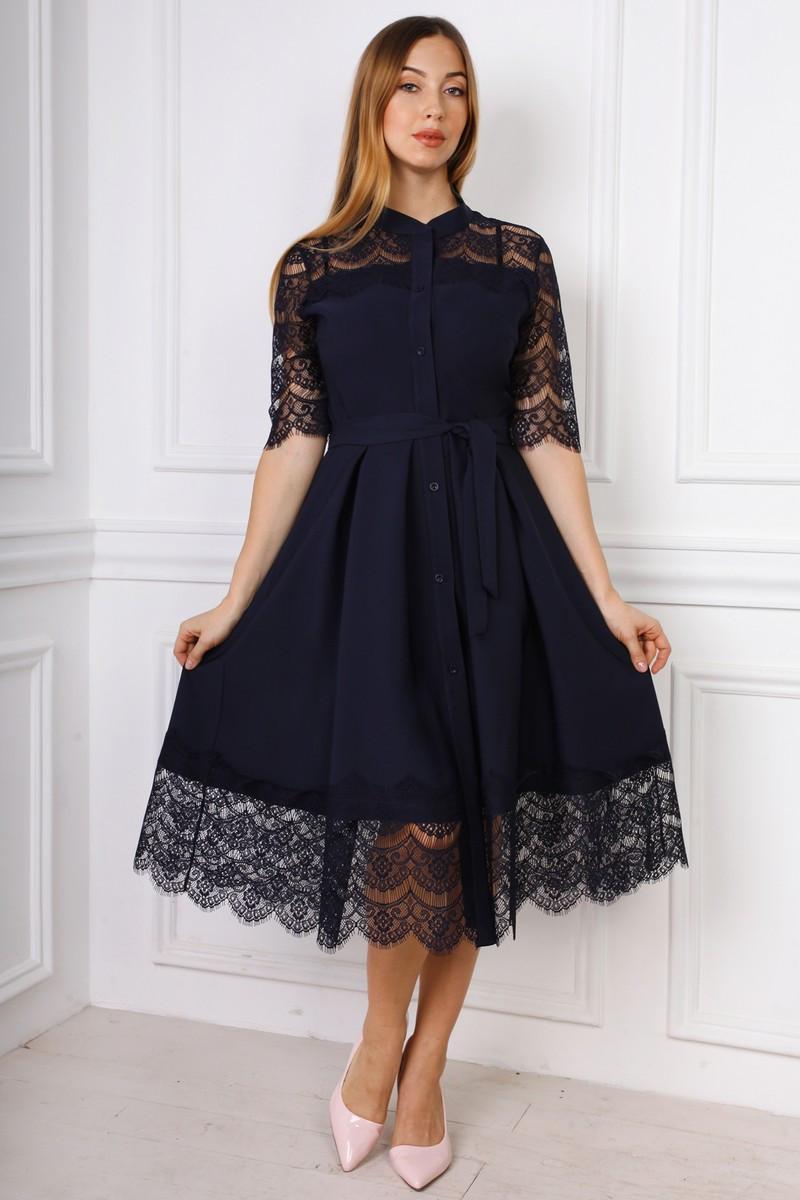 f90be09321e Женское платье-рубашка с юбкой солнце-клеш темно-синее - Интернет-магазин