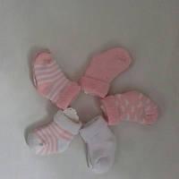 Махровые носочки для новорожденных розовые в полоску и белые Кiabi (Франция) 0-6мес
