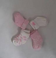 Махровые носочки для новорожденных розовые и белые облачка Кiabi (Франция) 0-6мес