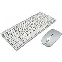 Набор беспроводная клавиатура мышка Apple 908 серебристая с белым USB комплект с мышкой в стиле Эпл 2.4 ГГц  , фото 1