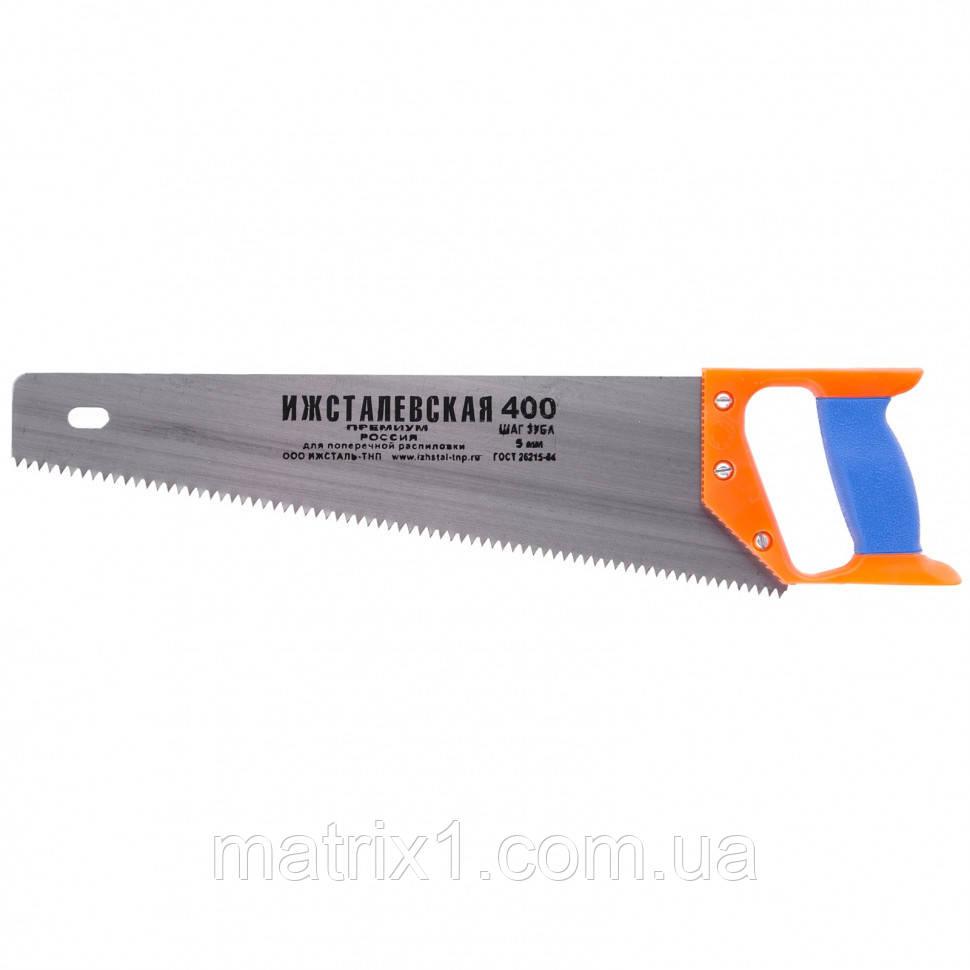 Ножовка по дереву, 400 мм, шаг зубьев 5 мм, пластиковая рукоятка (Ижевск). Россия