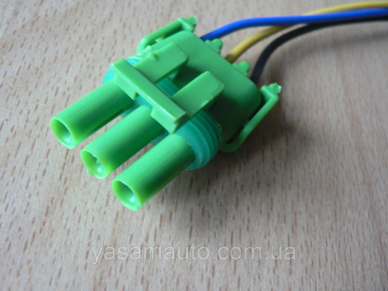 Колодка Lanos роз'єм проводки Ланос №20 датчика абсолютного тиску на 3 контакту з проводами зелена