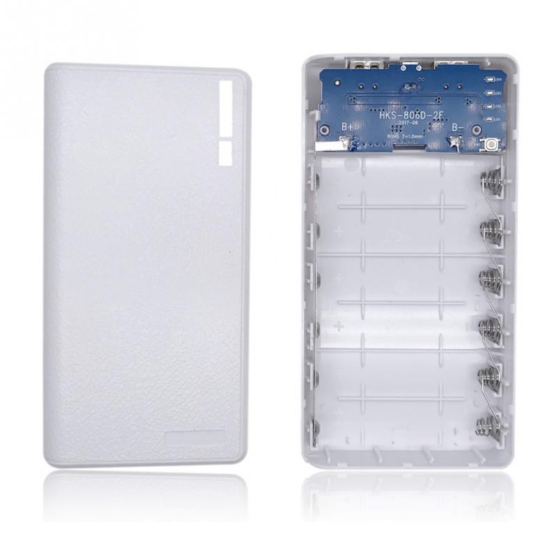 Корпус Power bank для 6 аккумуляторов 18650 с фонариком