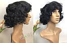 🖤 Парик из натуральных волос чёрный кучерявый каре 🖤, фото 2