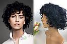 🖤 Парик из натуральных волос чёрный кучерявый каре 🖤, фото 5