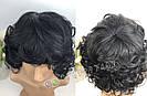 🖤 Парик из натуральных волос чёрный кучерявый каре 🖤, фото 6