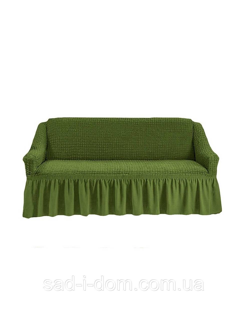 Чехол на 3-х местный диван, оливковый