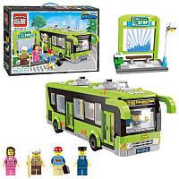 Конструктор из серии Город (Cities) Автобусная остановка, автобус, фигурки, 420 деталей, крпия лего BRICK 1121