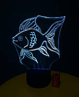 Ночник Золотая рыбка, 3d лампа светильник, разные подсветки