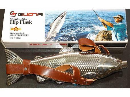 Фляга рыба большая 540 мл в чехле F1-48 , фото 2