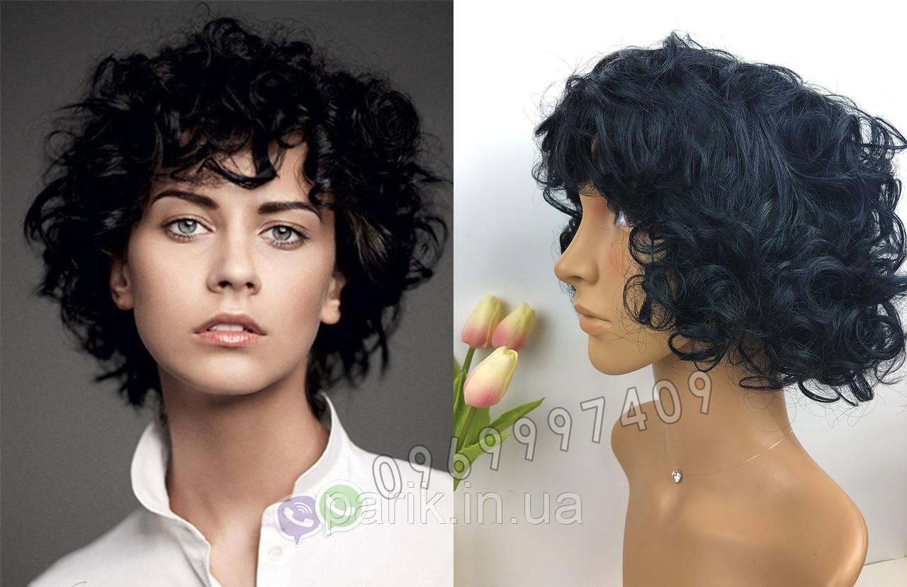 🖤 Кудрявый парик из натуральных волос, чёрный 🖤
