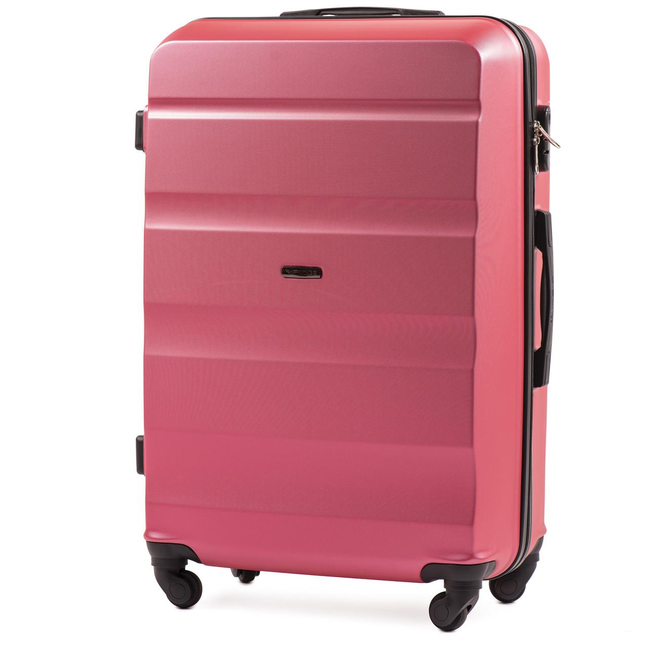 Большой пластиковый чемодан Wings AT01 на 4 колесах розовый