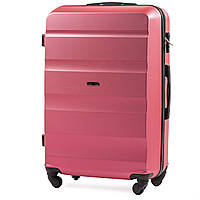 Большой пластиковый чемодан Wings AT01 на 4 колесах розовый, фото 1