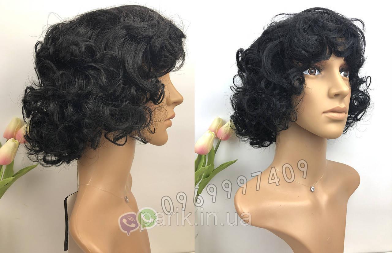 🖤 Короткий парик из натуральных волос чёрные кудри 🖤