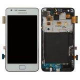Дисплей (екран) для Samsung i9105 Galaxy S2 Plus з сенсором (тачскріном) і рамкою білий Оригінал