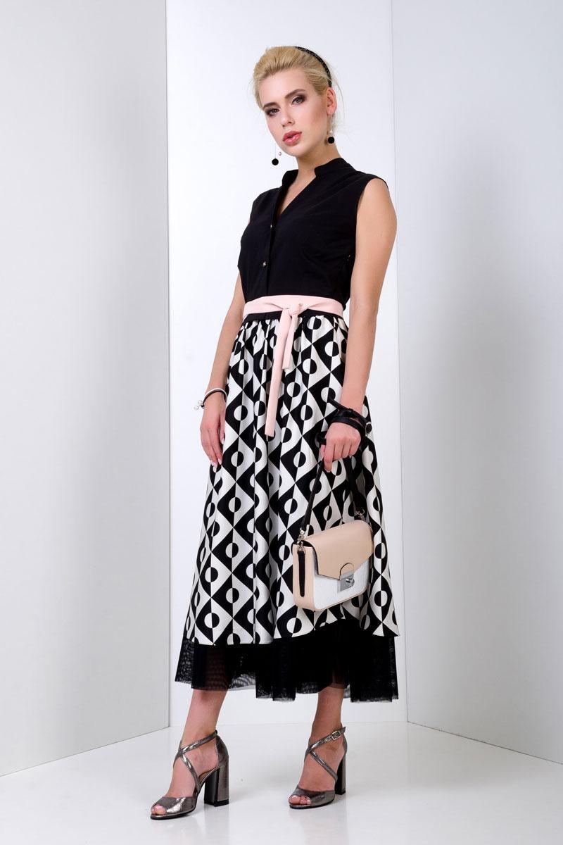 2044 платье Аликанте Принт, черный (44)