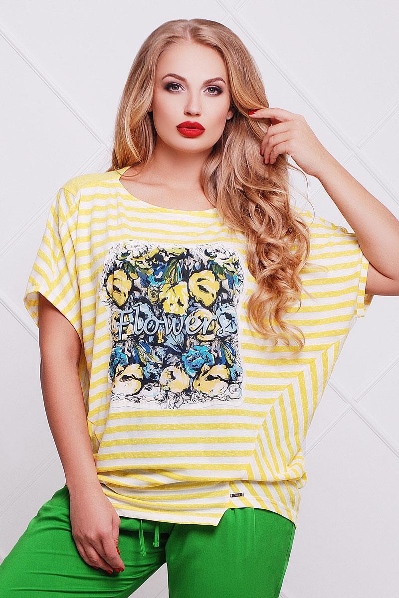 1879 блуза Эквадор тюльпан полоска, белый-желтый (54-56)